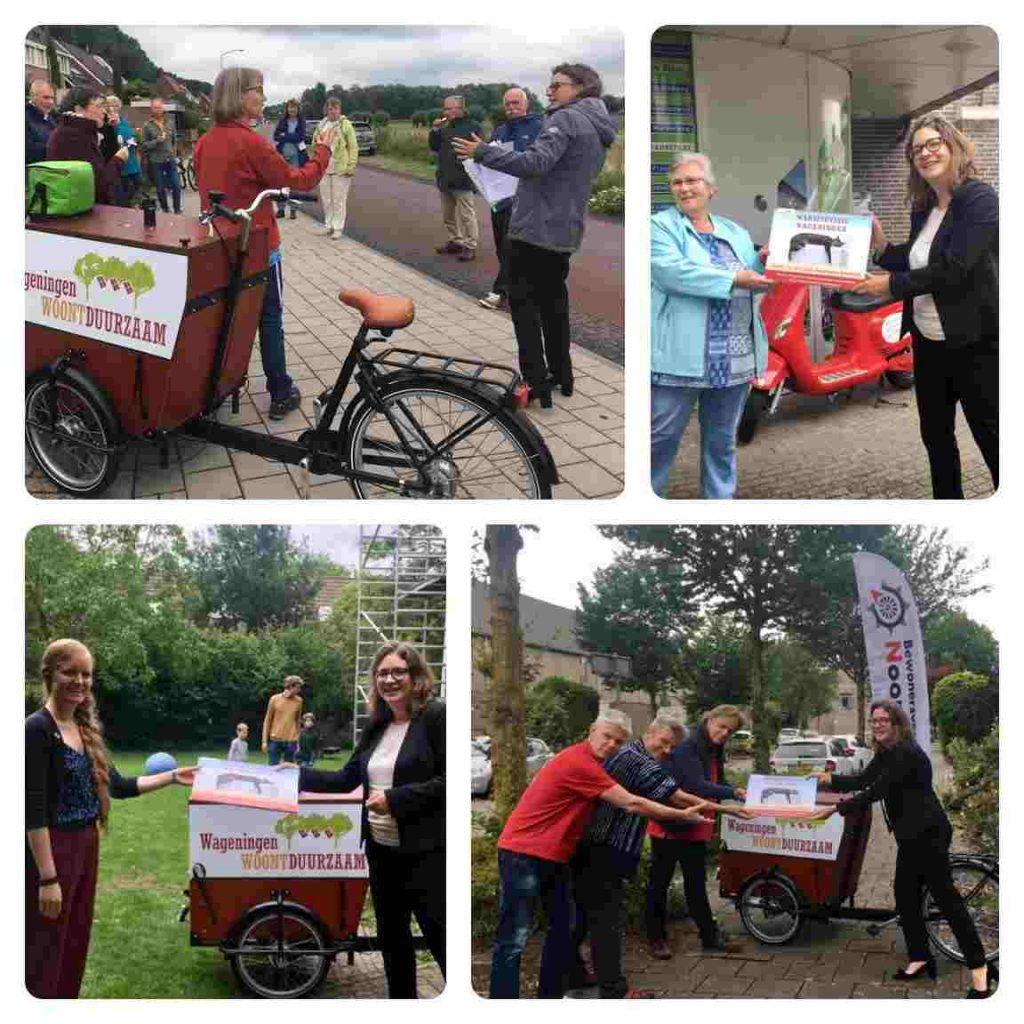 Wethouder Anne Jansen deelt warmtevisie uit op de fiets in Wageningen